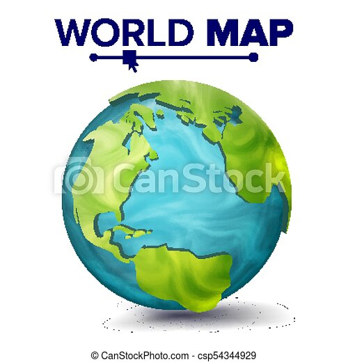 World map vector 3d planet sphere earth with continents vector world map vector 3d planet sphere earth with continents north america south gumiabroncs Gallery