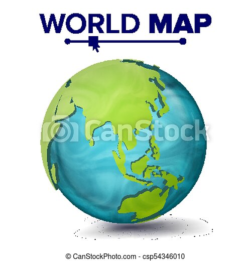 World map vector 3d planet sphere earth with continents asia world map vector 3d planet sphere earth with continents asia australia gumiabroncs Choice Image