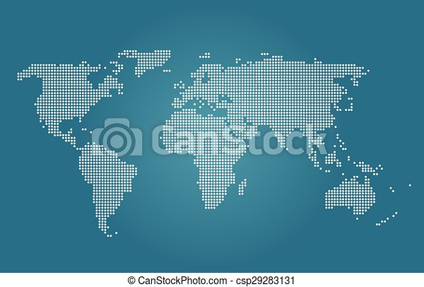 World Map Vector Blue Color Map Vector - World map in blue color