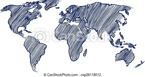 World map globe hand drawn vector illustration vector clip art world map csp26118012 gumiabroncs Images