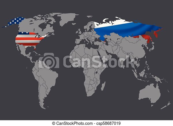 World map vector illustration. Infographic template. Russia and USA  selecter with flags