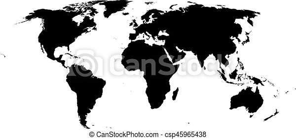World map vector isolated high quality map of the world black world map vector isolated high quality map of the world black world map isolated on white gumiabroncs Images