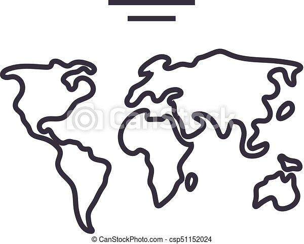 World map vector line icon sign illustration on background world map vector line icon sign illustration on background editable strokes gumiabroncs Images