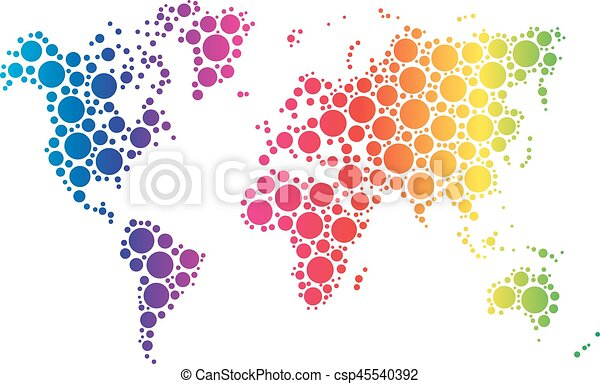 World map wallpaper mosaic of dots in rainbow spectrum eps world map wallpaper mosaic of dots in rainbow spectrum colors on white background vector gumiabroncs Choice Image