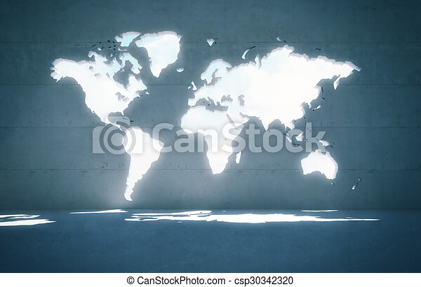 World map window in concrete wall 3d render clip art search world map window in concrete wall csp30342320 gumiabroncs Image collections