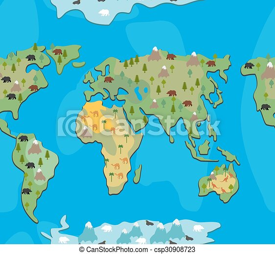 World map with animals and trees seamless pattern background world map with animals and trees seamless pattern background of geographical atlas of flora and fauna endless ornament for baby cloth of continents of gumiabroncs Image collections