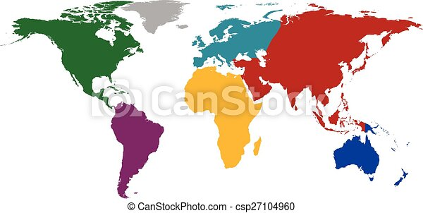 World map with colored continents vector illustration world map with colored continents csp27104960 gumiabroncs Images