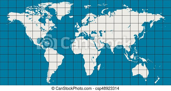 World map with coordinate grid and meridian and parallel vector