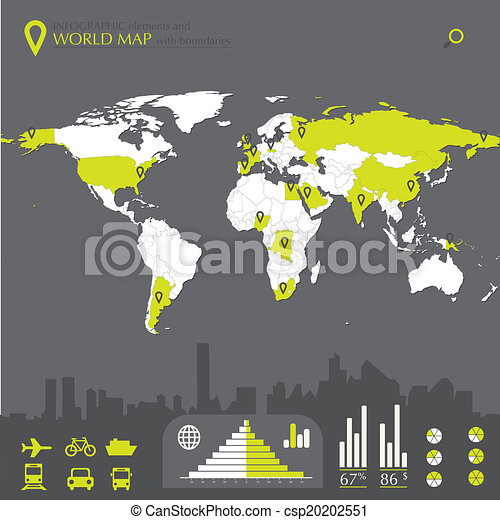 World map with countries and infographic elements in editable vector world map with countries csp20202551 gumiabroncs Gallery