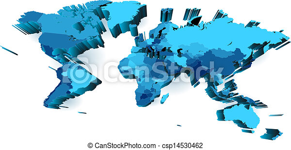World map with countries extruded with perspective world clip world map with countries extruded with perspective vector gumiabroncs Choice Image