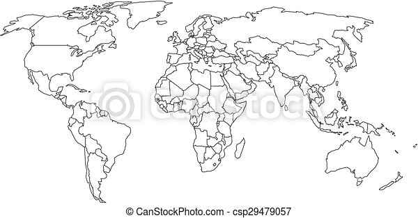 World map with country borders thin black outline on white world map with country borders csp29479057 gumiabroncs Image collections