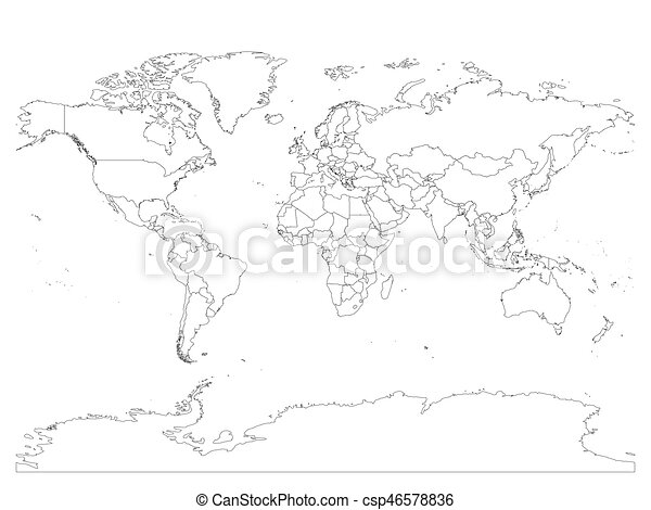 World map with country borders thin black outline on white world map with country borders thin black outline on white background simple high detail line gumiabroncs Image collections