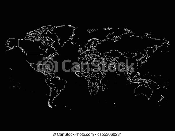 World map with country borders thin white outline on black world map with country borders thin white outline on black background simple high detail line gumiabroncs Image collections