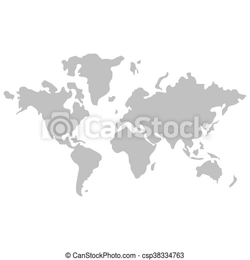 Simple flat design world map with distinction between land clip world map with distinction between land and sea icon csp38334763 gumiabroncs Images