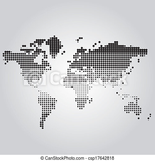 world map with dots of different sizes csp17642818