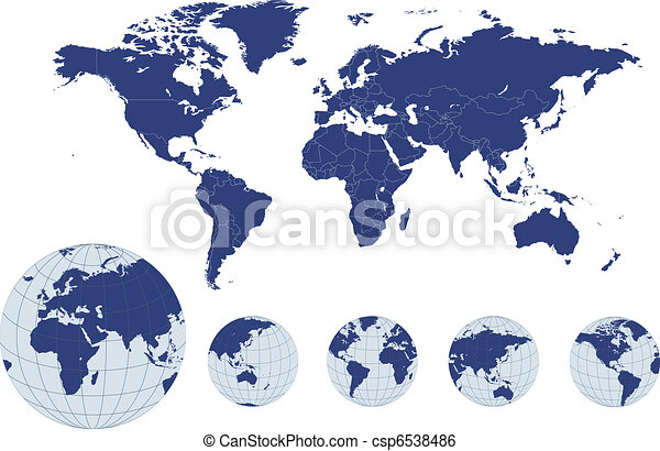World map with earth globes - csp6538486