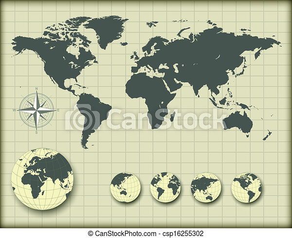 World map with earth globes - csp16255302