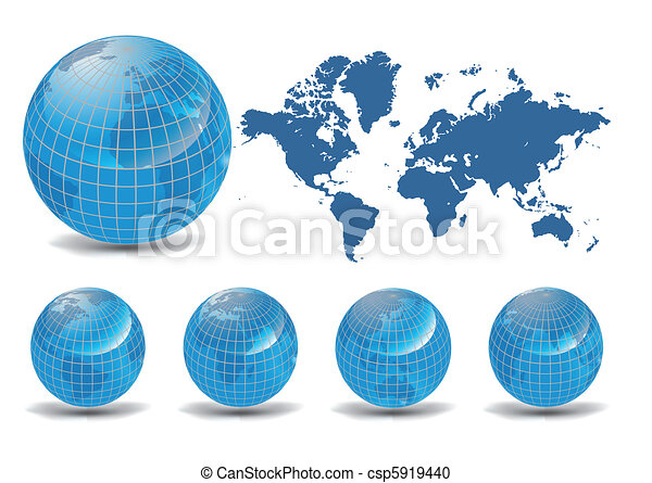 World map with earth globes in white background part of full set world map with earth globes csp5919440 gumiabroncs Gallery