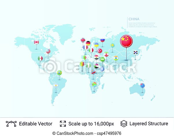 World map with flags country symbols and borders on the vectors vector world map with flags csp47495976 gumiabroncs Image collections