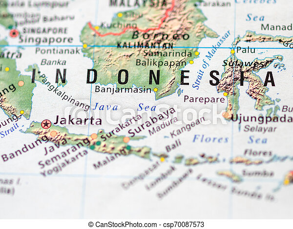 World map with focus on Republic of Indonesia with capital city Jakarta.