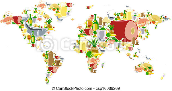 World map with food and drinks world map of food and drinks vector world map with food and drinks csp16089269 gumiabroncs Image collections