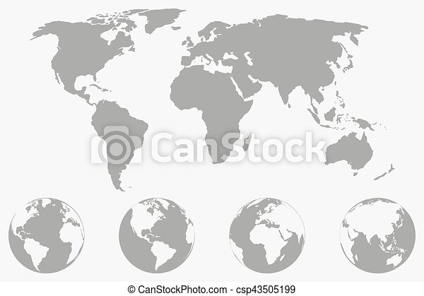 World map with four globe icons from different sides stylized world map with four globe icons from different sides stylized geometric flat vector gumiabroncs Gallery