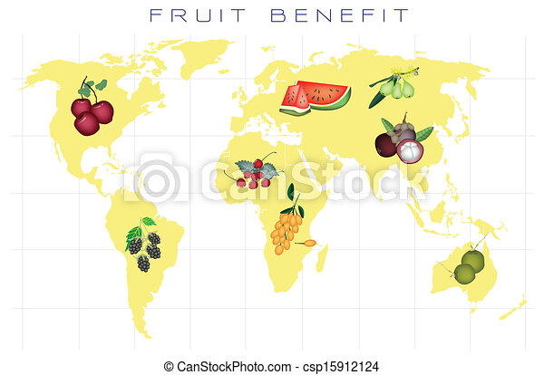 world map with fruits production and consumption csp15912124