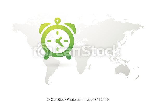 World map with green alarm clock world map with green alarm clock csp43452419 gumiabroncs Images