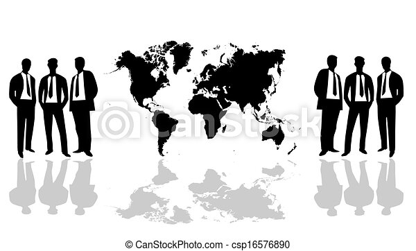 Black and white world map world map with group people vector world map with group people vector gumiabroncs Images
