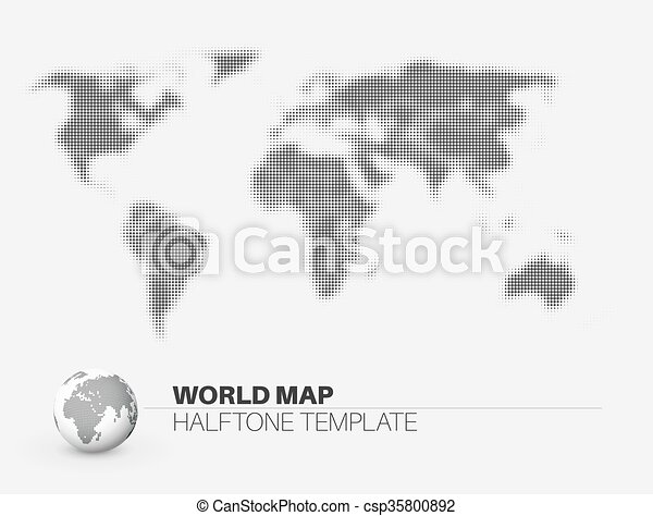 World map with halftone effect template made from dots for eps world map with halftone effect csp35800892 gumiabroncs Choice Image