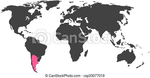 World map with highlighted argentina simlified political vector map world map with highlighted argentina simlified political vector map in dark grey and pink highlight gumiabroncs Choice Image