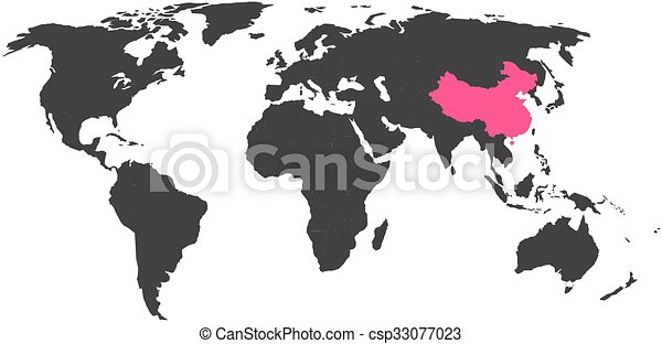 World map with highlighted canada simlified political vector map in world map with highlighted china gumiabroncs Choice Image