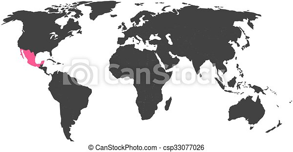 World map with highlighted Mexico