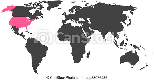 World map with highlighted united states of america. simlified ...
