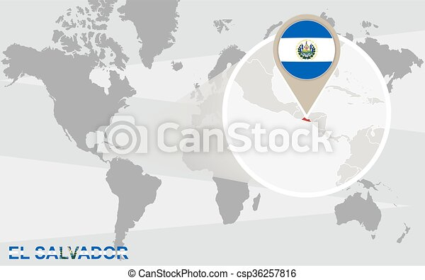 World map with magnified El Salvador on georgetown on world map, costa rica on world map, el salvador map, cuba on world map, tenochtitlan on world map, recife on world map, panama on world map, tegucigalpa on world map, cabinda on world map, bahamas on world map, altamira on world map, santiago on world map, port of spain on world map, la habana on world map, salvador brazil on world map, arenal volcano on world map, santo domingo on world map, monterey world map, sanaa on world map, conakry on world map,