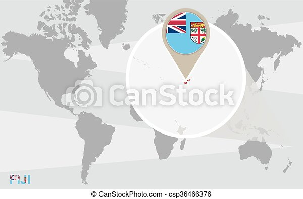 World map with magnified fiji. fiji flag and map.