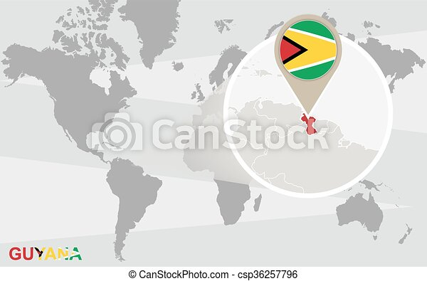 World Map With Magnified Guyana Guyana Flag And Map