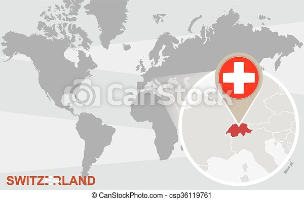 World Map With Magnified Switzerland Switzerland Flag And Map