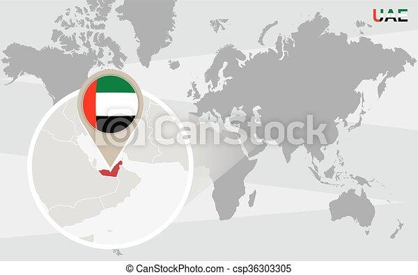 World map with magnified united arab emirates uae flag and world map with magnified united arab emirates csp36303305 gumiabroncs Choice Image