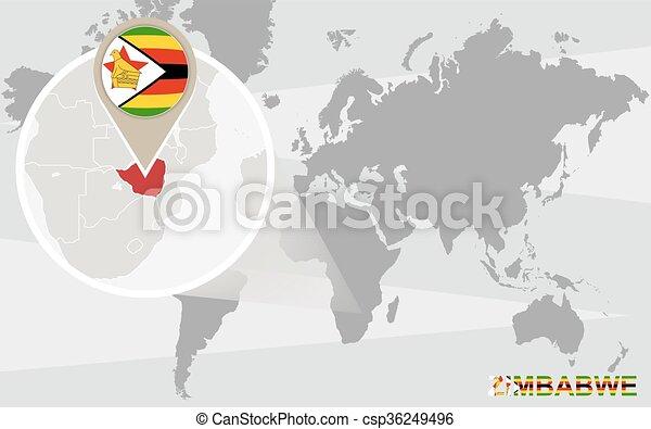 World Map With Magnified Zimbabwe Zimbabwe Flag And Map