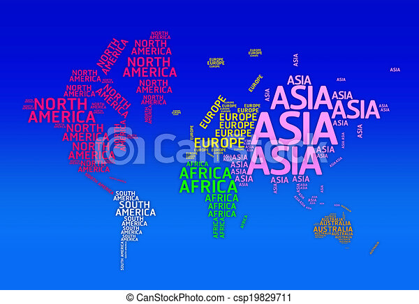World map with names of continents typo map continents world map with names of continents typo map csp19829711 gumiabroncs Gallery