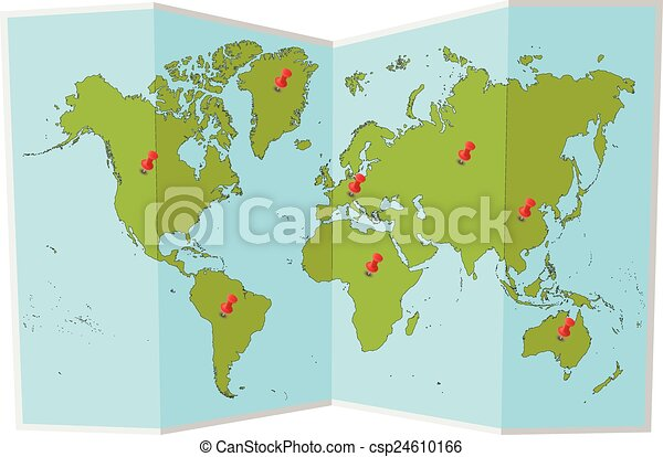 World map with pins - csp24610166