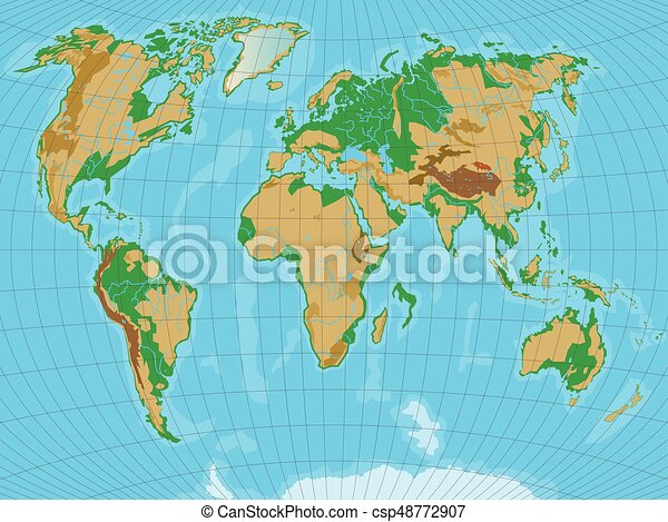 World map with relief all reliefs are separated in editable layers world map with relief all reliefs are separated in editable layers vector illustration gumiabroncs Choice Image