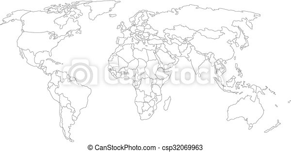 World map with smoothed country borders thin black outline clip world map with smoothed country borders csp32069963 gumiabroncs Choice Image