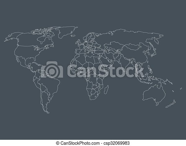 World map with smoothed country borders thin white outline world map with smoothed country borders csp32069983 gumiabroncs Image collections