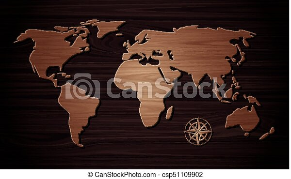 World map wooden on the plank wooden.