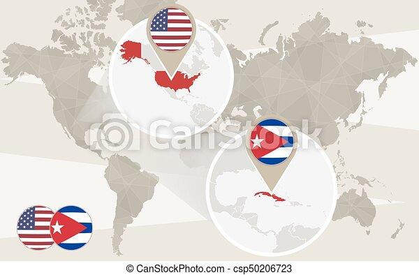 World map zoom on USA, Cuba