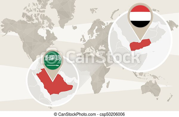 World Map Zoom On Yemen Saudi Arabia Conflict Vector Illustration