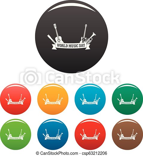 World music day icons set color - csp63212206