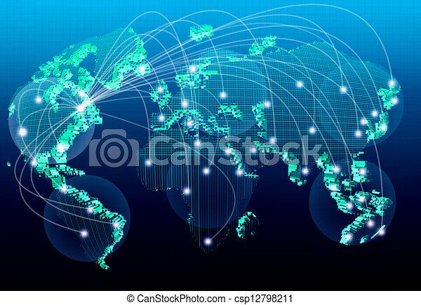 world net work for business sign - csp12798211